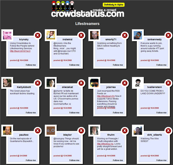 Crowdstatus Lifestreamers