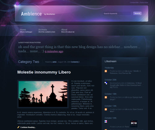 Newly Released Ambience WordPress Theme for Lifestreaming