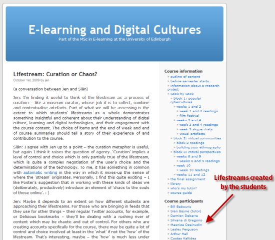 Digital Cultures Course at University of Edinburgh Focused on Lifestreaming