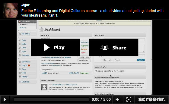 Screencast Video Guide for the WordPress Lifestream Plugin