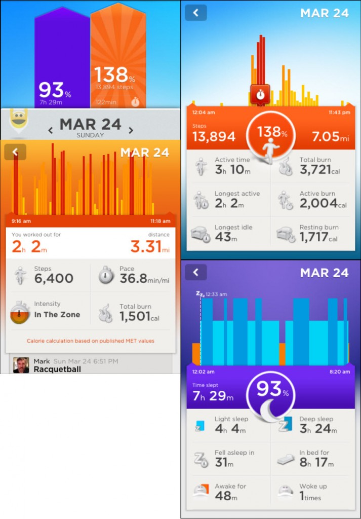 Here are 4 screencaps from the app available on iOS and Android. Jawbone is the only device without web reporting. I also initiated my racquetball activity time from the wristband which is tracked on a separate report. The calories burned are also supplemented based on this.