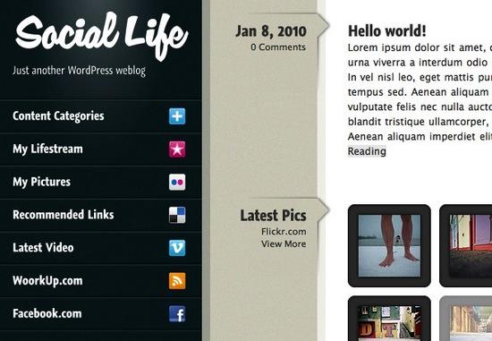 Sneak Peek at Soon to be Released Social Life WordPress Theme