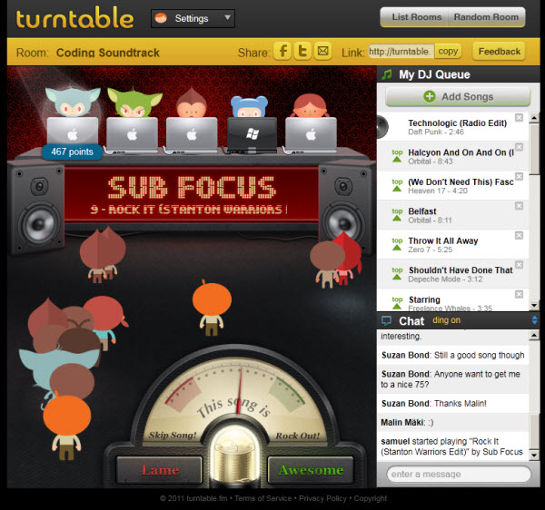 On the Magic of Turntable.fm, Needed Features, and Potential Startup Spinoffs
