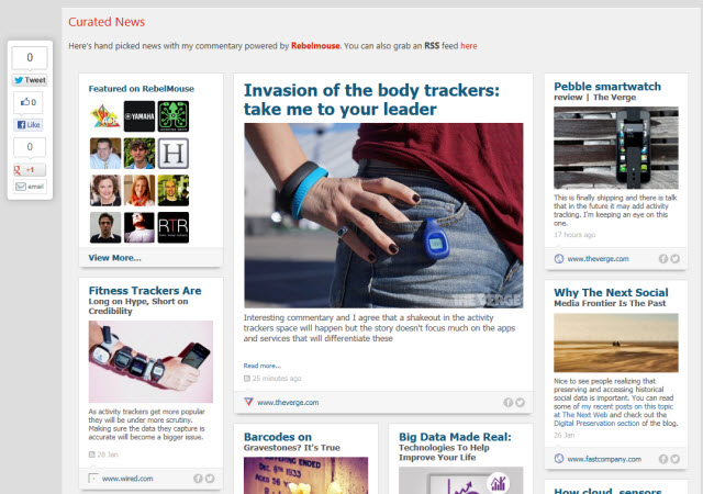 Curated News Now Available Powered by Rebelmouse